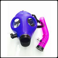 Las pipas de fumar de la máscara de gas tubos de agua de la cachimba ealed el tubo de acrílico Bong de la cachimba venta caliente DHL