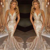 2017 New Luxury Gold Prom Dresses Mermaid V Neck Sexy Africa...