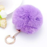 Fashion Rabbit Fur Ball Fluffy Round Ball Metal Keychain Key...