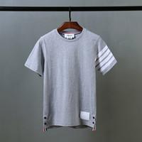 2017 homens da camisa da TB TB do tipo do verão t-shirt listrados Short-Sleeved do hip-hop do O-Pescoço t-shirt ocasionais da camisola do tipo das mulheres