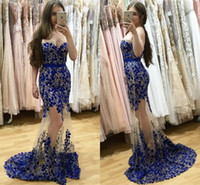 Sweetheart 2017 Sexy Evening Dress With Royal Bule Applique Beaded Sequined Prom Gowns Back Zipper Custom Made Formal Party Gowns 2017