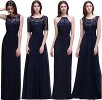 Cheap New Navy Blue Bridesmaid Dresses 2017 Vintage Lace A L...