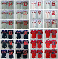 Men's MLB Boston Red Sox Flexbase 50 Mookie Betts 34 David Ortiz 15 Pedroia 16 Andrew Benintendi 9 Williams 21 Clemens cousu Maillots
