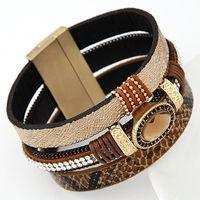 Pulseira Masculina Punk Leather Bracelet Men Jewelry Fashion...