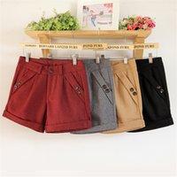 Multi colors plus size wool blend shorts for women winter au...
