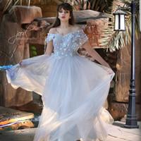 2017 Светло-серый Вечерние платья с плеча 3D-цветочные аппликации из бисера Цветы Тюль юбки длины пола мантий выпускного вечера