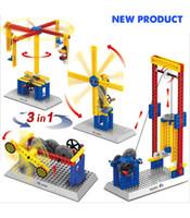 Mechanical Building Blocks Sets Crane toy mini seesaw Childr...