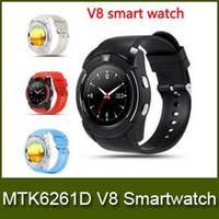 Nouveau V8 Montre Smart Montres Bluetooth Android avec 0.3M Camera MTK6261D Smartwatch pour téléphone android Micro Sim TF carte avec forfait au détail