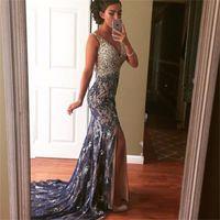 Navy Blue Lace Mermaid Evening Dresses 2017 Elegant Sexy V- N...