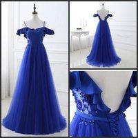 2017 Royal Blue Пром платья Длинные бретелек Backless бисером Sexy Back Специальный Платья Sexy 100% реальное фото Вечерние платья выпускного вечера