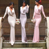Custom Made Sexy Cheap Sheath Bridesmaid Dress With Long Sle...