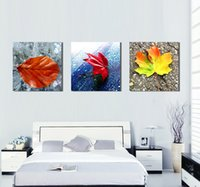 No Framed 3 Piece Canvas Art Colorful Leaf Digital Painting Wall Art Pictures Набор для украшения ресторана