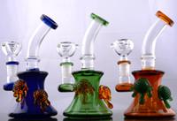 Bongs en verre de morceau coloré de bouche avec les conduites d'eau communes de 14mm Livraison gratuite