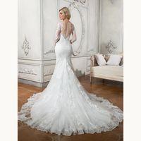 Sexy Lace Long Sleeves Illusion Back Mermaid Wedding Dresses...