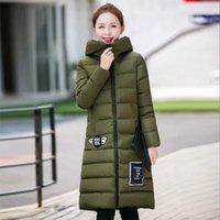 Новые длинные зимние Женщины вниз пальто куртки ворота стойки одежды Parkas Пальто с капюшоном Пальто Casaco карманным FS1046