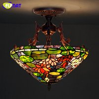 Tiffany Ceiling Lamp European Style Lotus Pond Stained Glass...