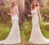 Luxury Elegant Lace Mermaid Wedding Dresses Sheer Neck Cap S...