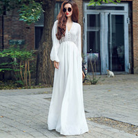 Dresses Sexy Bohemian Dress Long- sleeved V- neck Lantern Slee...
