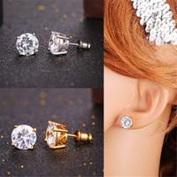 U7 Cubic Zircon Crystal Stud Boucles d'oreilles Or / platine plaqué rond / Square Stud Boucles d'oreilles pour les femmes / hommes Luxe Bijoux Perfect Gift Accessories