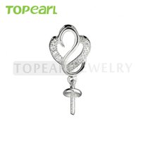 9PM149 Teboer Jewelry 5pcs / LOT Sterling 925 Silver Semi Mounting for DIY Dangle Pearl Pearl Blanks