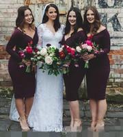 Новый 2017 Страна Short-Бич бургундские невесты Платья с длинным рукавом V-образным вырезом арабский Дубай горничной честь платья Дешевые свадебное платье партии