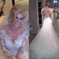 Люкс Тюль Русалка 2016 года Свадебные платья 2017 года Свадебные платья аппликациями Кристал Покрытый Button суд поезд Свадебные платья с длинными рукавами