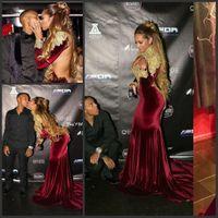 Vestidos Мусульманские Burgendy Бархатные вечерние платья 2017 года Sexy высоким горлом длинными рукавами Backless Золото Аппликация из бисера Glitz Длинные платья выпускного вечера