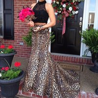 New 2017 Sexy Leopard Print Two Pieces Prom Dresses High Nec...