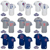 Elite World Series Champions Chicago Cubs # 17 Kris Bryant 44 Anthony Rizzo 9 Javier Baez 18 Ben Zobrist Jersey Maillots de baseball Mélanger l'ordre