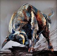 Животное Bull, высокое качество подлинной Ручная роспись стены Декор Животное поп-арт живопись маслом на холсте качества Толстые Мульти Размеры meii