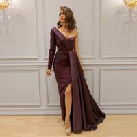Elegant Burgundy Arabic Dresses Evening Wear One Shoulder Ap...