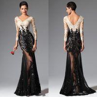 Black White Mermaid Long Sleeves Lace Evening Dresses 2016 E...