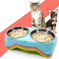 Dimond Double Bowls Stainless Steel Pet Bowls Plastic Dog Fo...