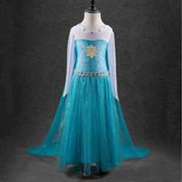 Girls Frozen snowflake Dress Lace paillette Dresses children...