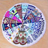 17 Дизайнов Tassel Round Пляжные полотенца для взрослых Мандала Одеяло полиэстер Microfiber Пляжное полотенце Йога Пикник Мат Table Cloth CCA5849 25pcs