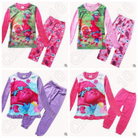 4 Designs 2pcs / set Novamente Trolls Crianças Pijamas Cartoon Pijamas Poppy Princesa Long Sleeve Tshirts Calças Pijamas CCA5430 50set