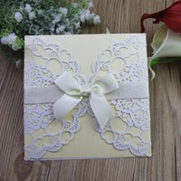 Rustic Hollow White Wedding Invitations with pearl butterfly...