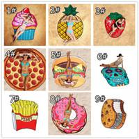 Red de poliéster Playa Toallas de ducha Manta Yoga Toalla Cráneo Fresa Piña Pastel Pizza Taza de pastel Hamburguesa 10 patrones Sunshine chal
