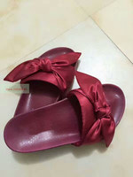 New Hot Rihanna Leadcat X Fenty Bandana Slide Bow Pantoufles, Ladies Fashion Chintillons Noir Bourgogne Rouge Violet Rose 36-41 Avec Box Dustbag