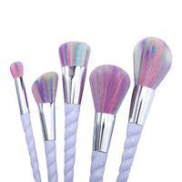 Cepillos calientes del espiral del unicornio del maquillaje de la venta 5Pcs / Set Cepillos profesionales del cepillo del profesional Sistema plástico del cepillo del espiral del unicornio de la buena calidad