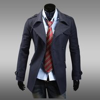 Оптово-Пальто Мужчины Классические Мужские Двойные Брестед Пальто Мужские Мужчины Мужчины Одежда Длинная Куртки Пальто Британский Стиль Шинель