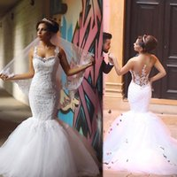 Designer Trumpet Bridal Dresses Straps Mermaid Appliqued Lac...