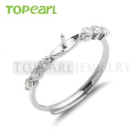 9RM102 Teboer Jewelry 5pcs / LOT Sterling 925 Silver Zircon Ring Blank for DIY Jewelry Jewelry Making