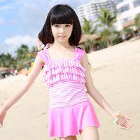 Everweekend Girls Stripes Ruffles Halter Swimwear One- pieces...