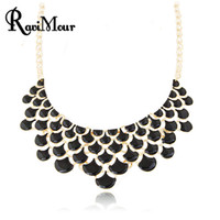 Maxi Necklace for Women Enamel Collares Mujer Layer Gold Cho...