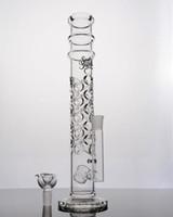 Image réelle 5-7mm verre épais droit bongs pomme de douche perc pleine trous de verre Pipe tuyau d'eau