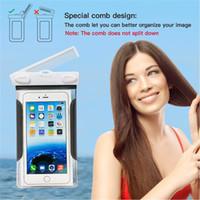 Accesorio del teléfono del PVC Bolso seco del bolso de la carpeta de la bolsa impermeable Caso del teléfono móvil del salto con el peine para el iphone 7