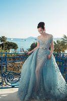2017 выполненные на заказ Elie Saab Вечерние платья Иллюзия Sheer юбки Sky Blue Sexy Длинные платья выпускного вечера Luxury баски знаменитости вечернее платье