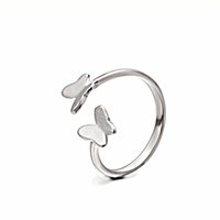 Bague en argent Open Size pour femmes Twist Braided Opening Adjustable Finger Ring avec papillon Charms Jewelry RS03887