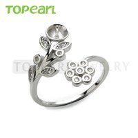 9RM17 Teboer Jewelry 5pcs / LOT Vente en gros 925 Sterling Silver Clear Cubic Zirconia Flower Ajustable Ring Sounting